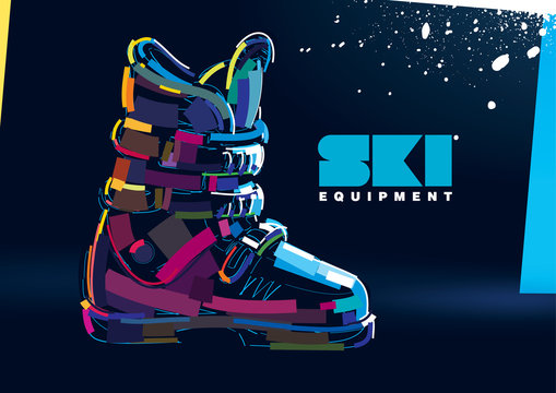Ski boots. Winter collection. Banner in a digital painting