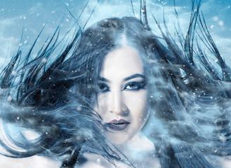 High fashion model woman. Art winter skin girl face portrai