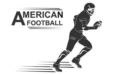 Running american football player logo silhouette. American football Logo designs template. American football icon.