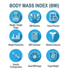 BMI / Body Mass Index Icons w scale, indicator, & calculator