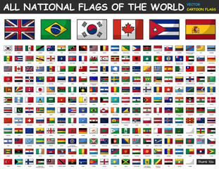 All national flags of the world . Cartoon style .