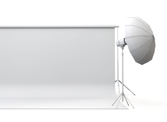 Empty photography studio with paper roll and lights. 3D rendering