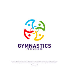 Fun People Healthy logo design concept vector.Gymnastics logo template. People care Icon Symbol