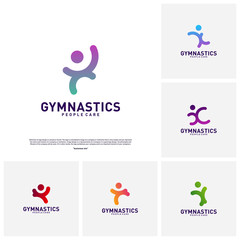 Fun People Healthy logo design concept vector.Gymnastics logo template. People care Icon Symbol