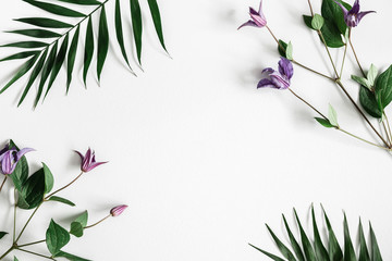 Flowers composition. Purple flowers on pastel gray background. Spring, summer concept. Flat lay, top view, copy space