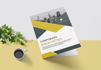 Business Brochure Layout with Mustard Accents
