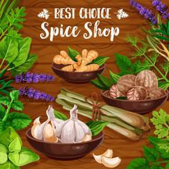 Culinary spice herbs, cooking herbal seasonings