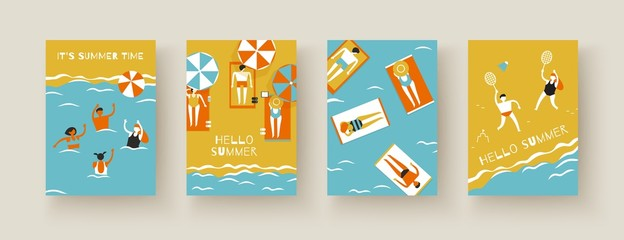 People beach sea volleyball badminton sunbathe vector A4 banners