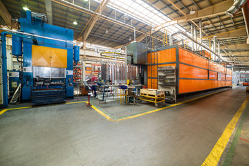Industrial production. Shop for the production of metal profiles.