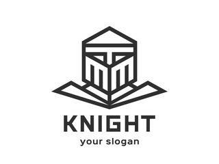 Knight Abstract Logo design vector template Linear style. Black-and-white version on a light background.