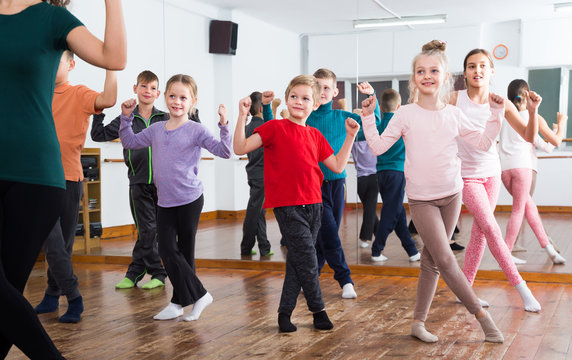 Ordinary children studying contemp dance