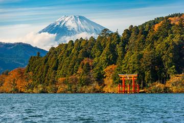 beautiful autumn scene of mountain Fuji, Lake Ashinoko and red Torii gate, Hakone, Japan