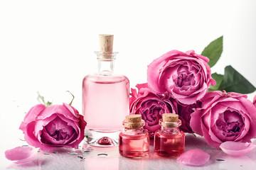 Roses, pink perfume water.