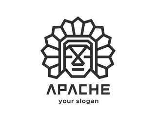 Apache Abstract Logo design vector template Linear style. Black-and-white version on a light background.