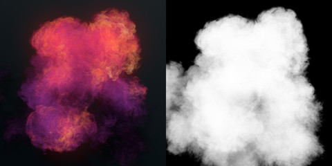Chemical cloud of pink smoke mixing on black background 3d rendering