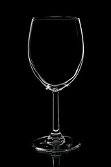 Empty glass of wine isolated on white background.