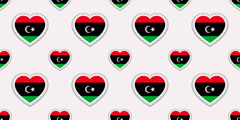 Libya flags background. National seamless pattern. Vector stickers. Love hearts symbols. Good choice for sports pages, travel, patriotic, geographic, elements. patriotic wallpaper.
