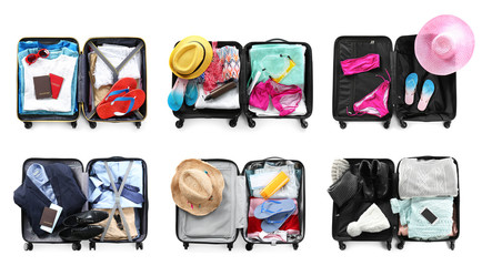 Set of different suitcases packed for travelling on white background, flat lay Fototapete