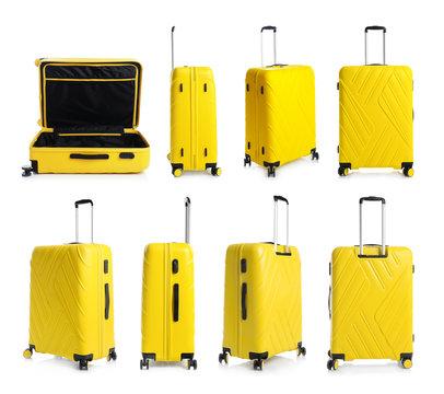 Set of stylish yellow suitcase for travelling on white background