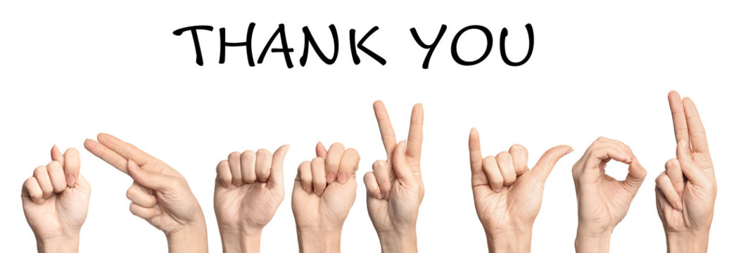 Woman showing phrase Thank You on white background. Sign language