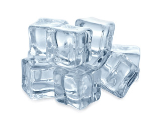 Pile of crystal clear ice cubes on white background