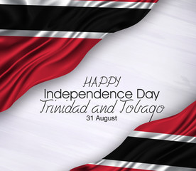 Vector illustration of Happy trinidad and tobago Waving flags isolated on gray background , 31 august.