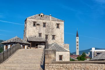 Old Bridge and Church Tower in Mostar, Bosnia