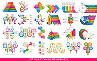 Collection infographics. Vector design elements. Infographics for business presentations or information banner, workflow layout, flow chart.