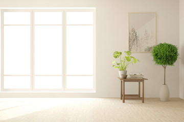 White minimalist empty room in hight resolution. Scandinavian interior design. 3D illustration
