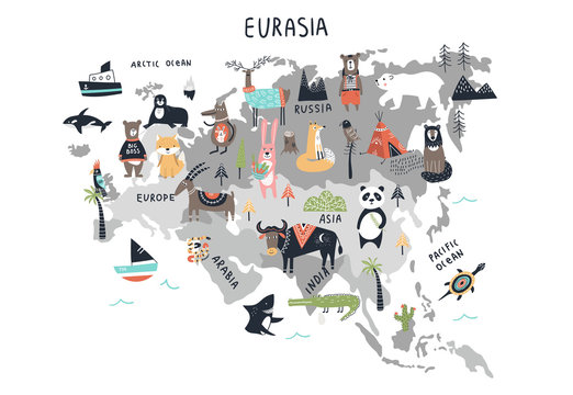 Animal World Map - mainland Eurasia. Cute cartoon hand drawn nursery print in scandinavian style. Vector illustration