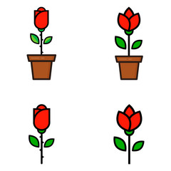 cartoon tulip and red rose in a pot set vector