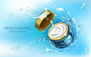 Vector 3d realistic advertising mock up - moisturizing cream in jar with water splashes, cosmetics. Essence in branded blue glass container, golden cap.Skincare, hygiene product isolated on background