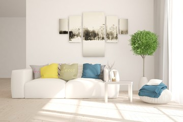 White stylish minimalist room in hight resolution with colorful sofa. Scandinavian interior design. 3D illustration