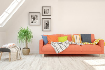 White stylish minimalist room in hight resolution with coral sofa. Scandinavian interior design. 3D illustration