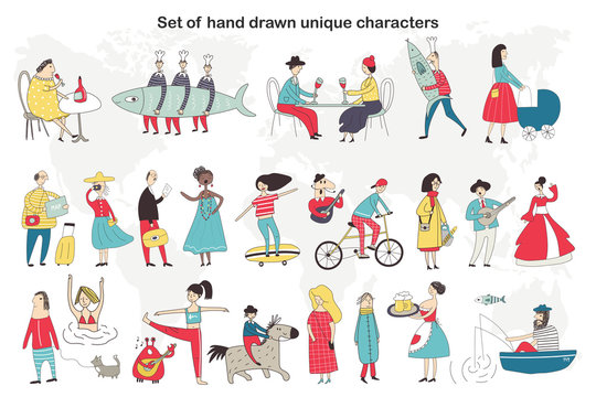 Big set of cute and fun hand drawn cartoon people characters who do different things. Vector illustration