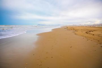 Sandy beaches of Rimini in winter, Italy