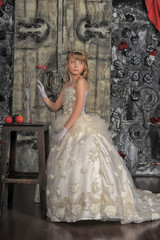 Little bride with tiara. Beauty, dressup.