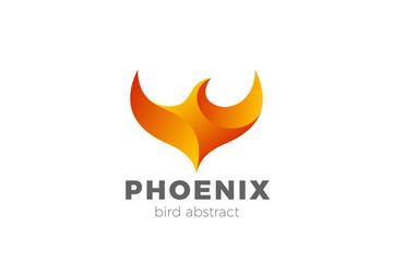 Phoenix Wings Logo design silhouette vector template. Eagle Falcon Hawk Flying Soaring Geometric Logotype concept icon.