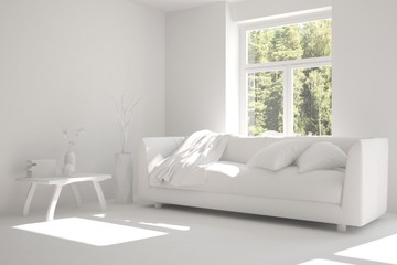 Stylish room in white color with sofa and green landscape in window. Hight resoltion image. Scandinavian interior design. 3D illustration