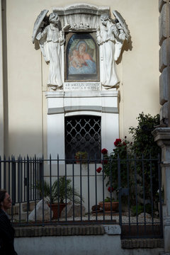 Rome, Italy, April 21, 2017: Aedicula Our Lady of Perpetual Help