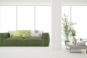 White stylish minimalist room in hight resolution with green sofa. Scandinavian interior design. 3D illustration