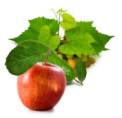 Fototapete - isolated image of an apple and grapes