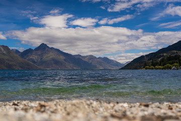 Great Lake Wakatipu with mountains in the background, Lake Wakatipu just outside of Queenstown, New Zealand