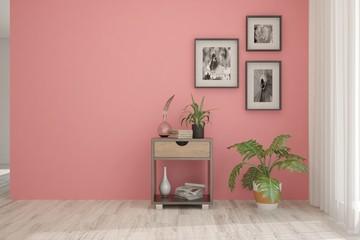 Coral minimalist empty room in hight resoltion. Scandinavian interior design. 3D illustration