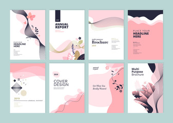 Fototapeta Set of brochure, annual report and cover design templates for beauty, spa, wellness, natural products, cosmetics, fashion, healthcare. Vector illustrations for business presentation, and marketing. obraz