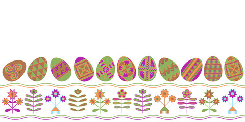 Easter eggs with folk naive ornament