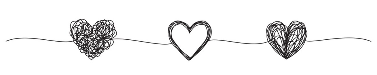 Banner with tangled grungy heart scribbles