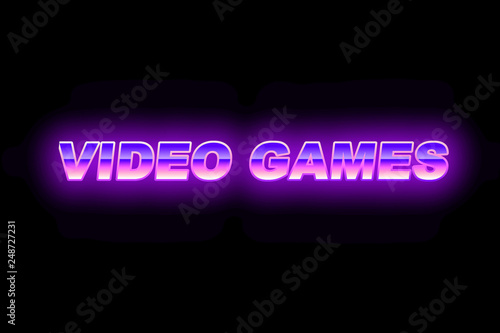 Purpule with blue futuristic text video games with a glow in