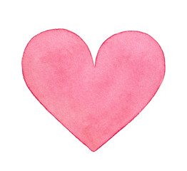 Pink watercolor heart illustration. One single object, light pastel colour, beautiful shape. Handdrawn water color painting on white backdrop, cutout clipart element for design, prints, scrapbooking.