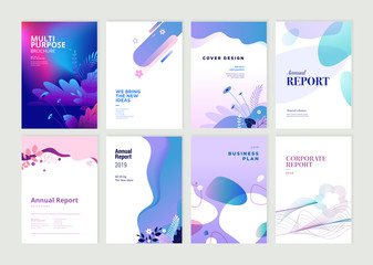 Set of brochure, annual report and cover design templates for beauty, spa, wellness, natural products, cosmetics, fashion, healthcare. Vector illustrations for business presentation, and marketing.